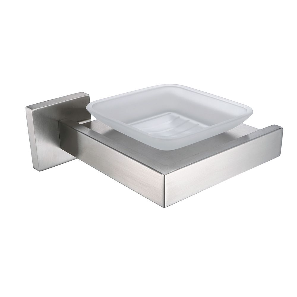 Auswind Contemporary Sliver Stainless Steel Square Brushed Glass Soap Dish Wall Moun Stainless Steel Bathroom Accessories Dish Soap Silver Bathroom Accessories