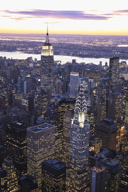 Chrysler Building And Empire State Building Print by Berthold Trenkel.