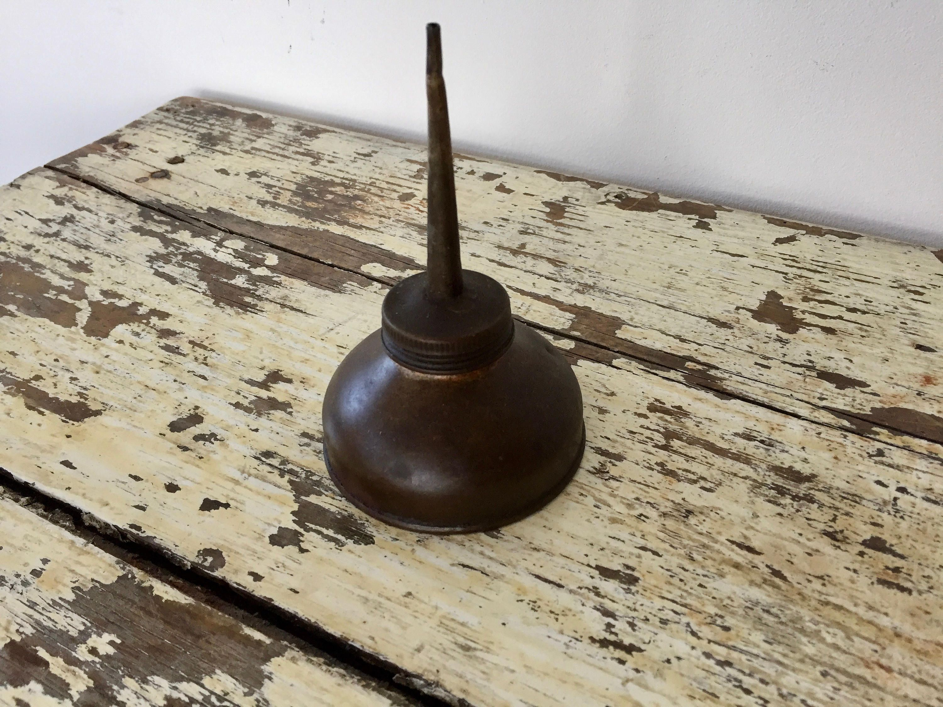Vintage OIL CAN, Metal Oil Can, Rustic Steampunk Industrial