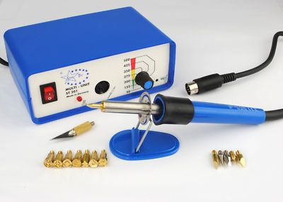 m0054 Startec StarTech MULTI HEAT Pyrography woodburning Kit with 14 Tips