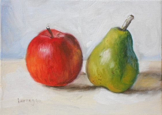 """""""Apple & Pear"""" - SOLD - Sweet Poetic Still-Lifes Painted Daily in Umbria, Italy.  5 x 7 in., oil on canvas board, signed on front & back. http://www.etsy.com/shop/BarraganPaintings"""