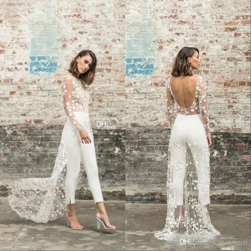 Discount Designer Jumpsuit Beach Wedding Dresses Jewel Neck Long