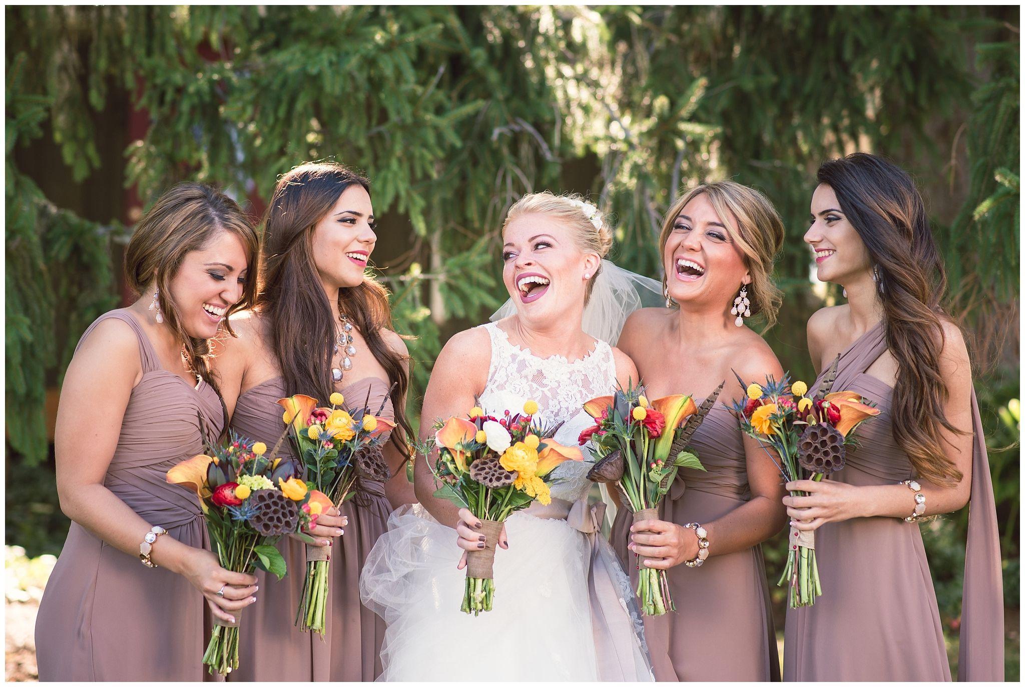 Wedding dresses for bridesmaids  Lingrow Farms Wedding  Mocha bridesmaid dresses August wedding and