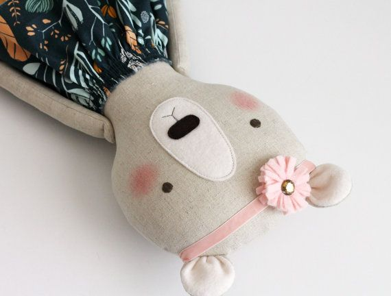Handmade bear with a headband. Stuffed bear animal. by blita