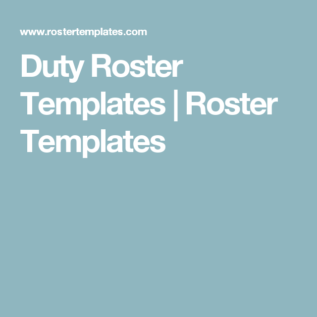 Duty Roster Templates  Roster Templates  Office Work