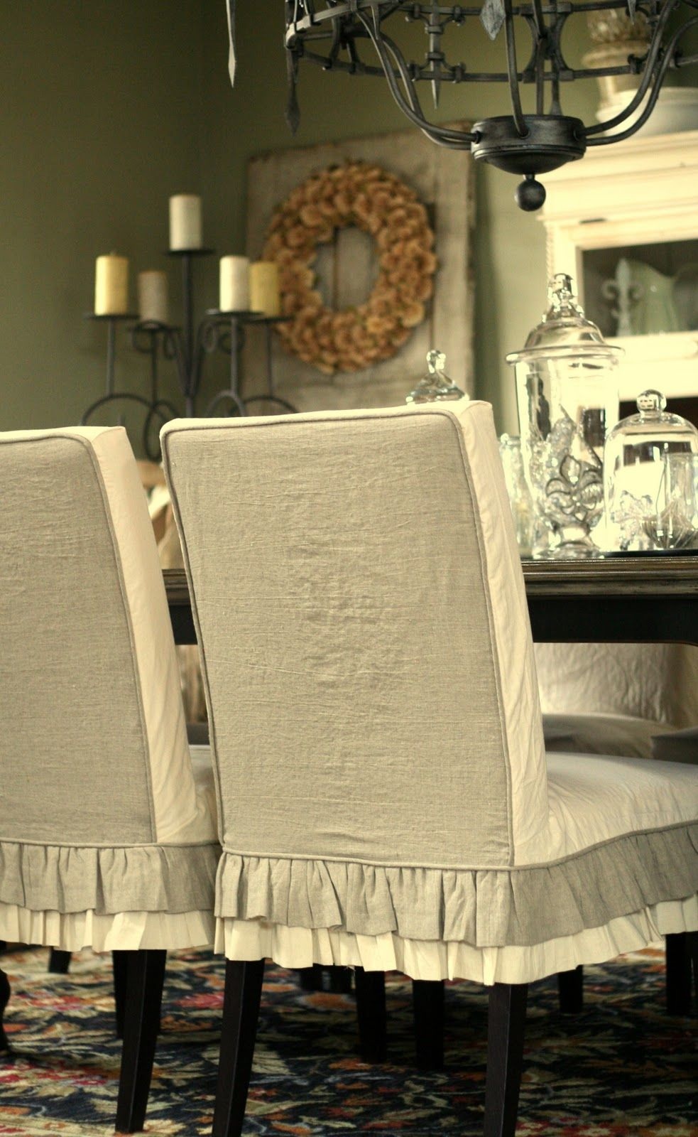 Oversized Parsons Chairs Slipcovers | the 2 sets of tan linen curtains as the outside back of the chairs ...