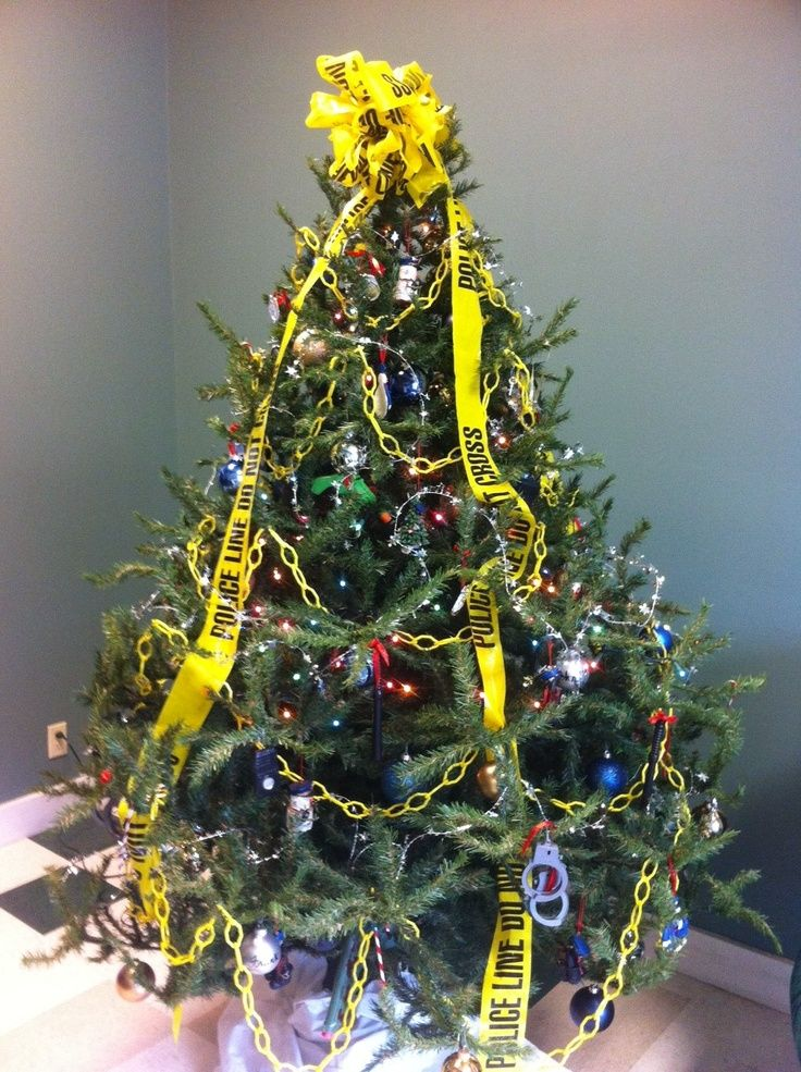 Police Department Christmas Tree Lol Ribbon On Christmas Tree Police Christmas Office Christmas