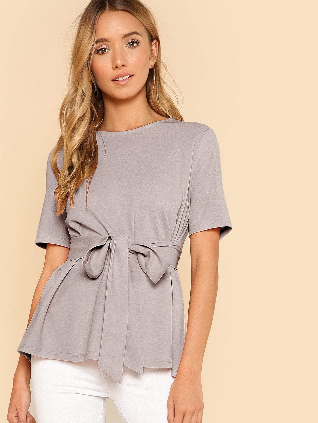 SHEIN Neon Lime Keyhole Back Belted Top