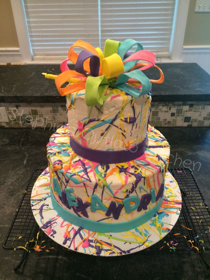 Paint Splattered 2 Tier Birthday Cake With Fondant Ribbon