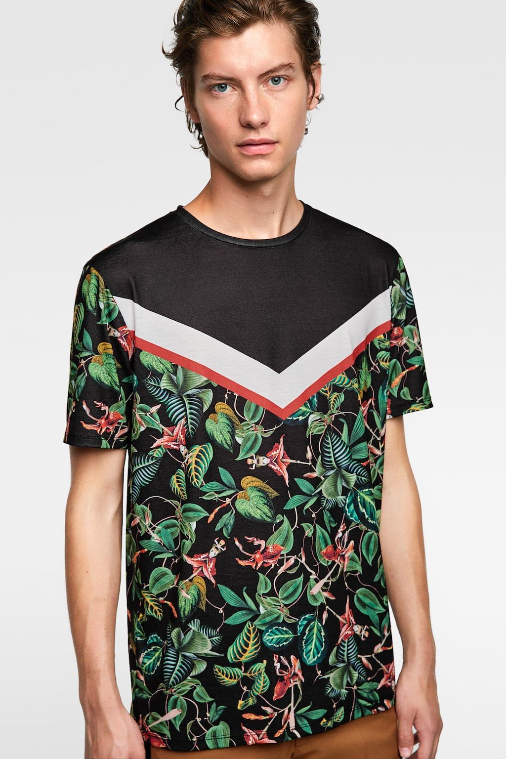Image 2 Of Combined Printed T Shirt From Zara Hojas Tropicales T