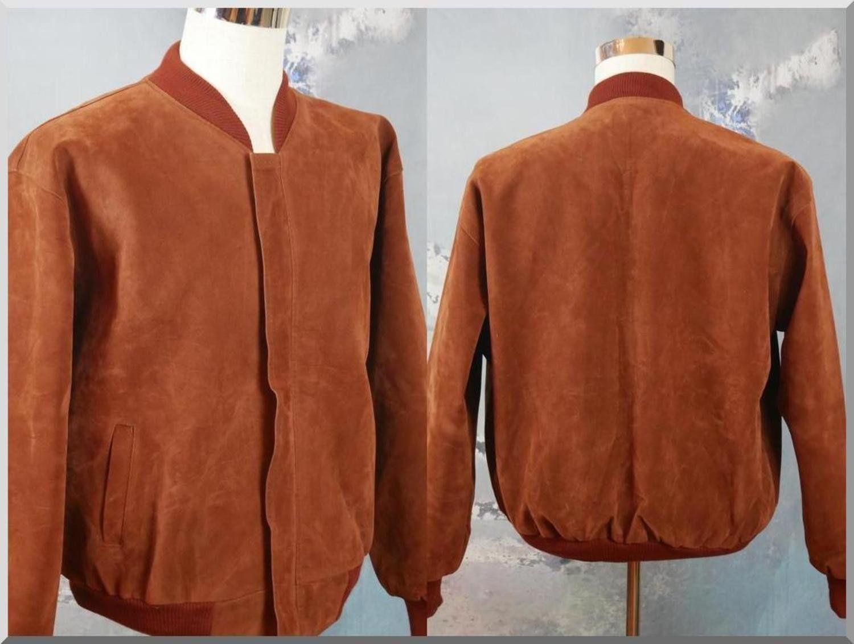 Faux Suede Bomber Jacket 1990s Italian Vintage Zip Up Soft Etsy Brown Vegan Leather Jacket Vegan Leather Jacket Suede Bomber Jacket [ 1132 x 1500 Pixel ]