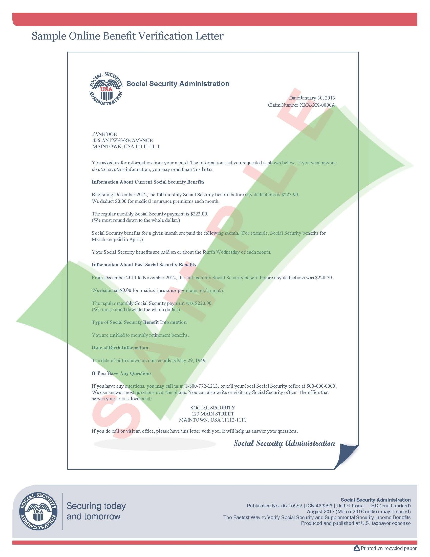 Sample Social Security Benefit Verification Letter In 2020