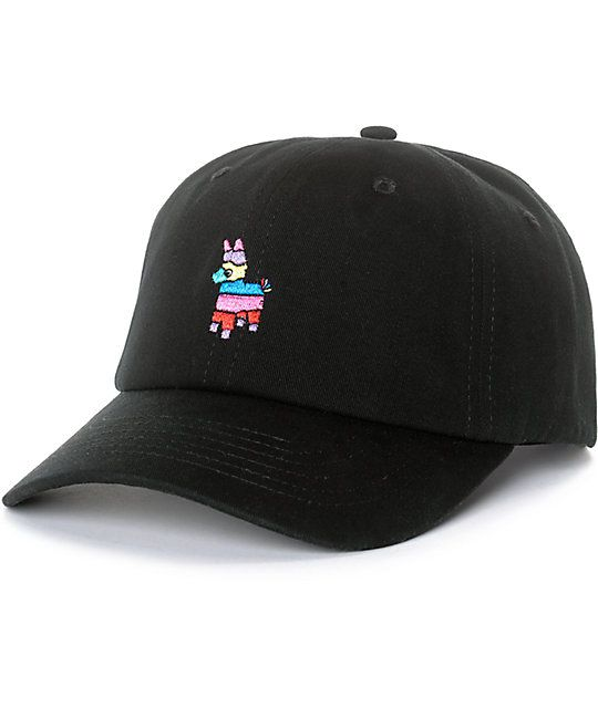 2af7818e18b88 Pony up with the Empyre 6 panel strap back hat that features a rainbow  colored Pinata at the front of a black body and curved bill.