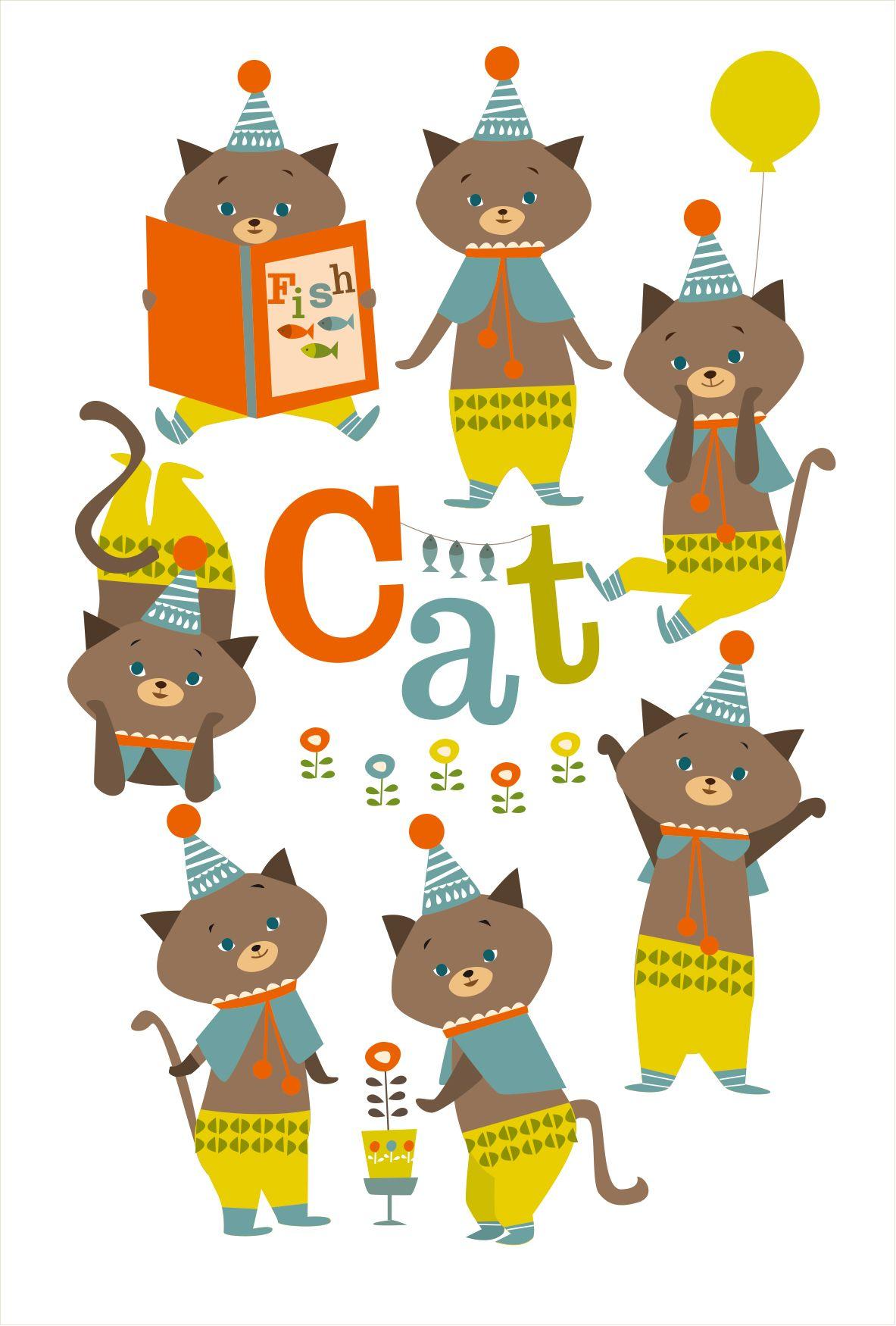 illustration cat ねこ | 柄 | pinterest | かわいいイラスト、可愛い