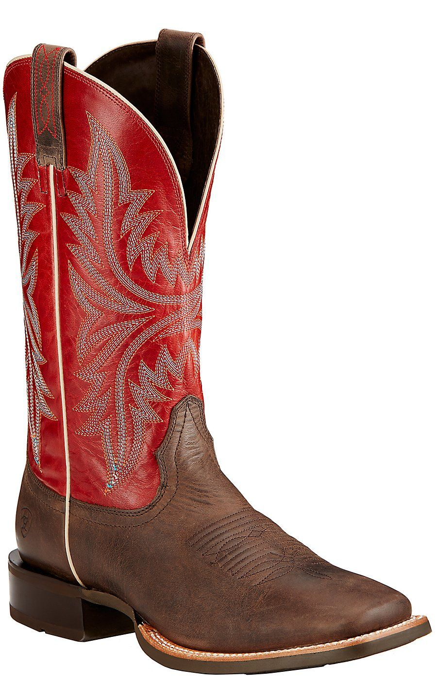 Ariat Cowhand Men's Murky Brown with Red Top Double Welt Square ...