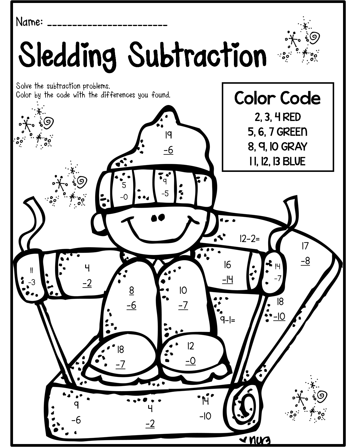 Subtraction Coloring Sheets First