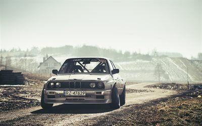 Download wallpapers 4k, BMW M3, drift cars, offroad, tuning, E30, tunned M3, german cars, BMW, drift besthqwallpapers.com