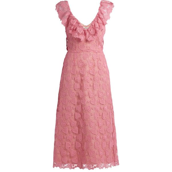 Miu Miu Heart-macramé lace midi dress ($3,955) ❤ liked on Polyvore featuring dresses and miu miu