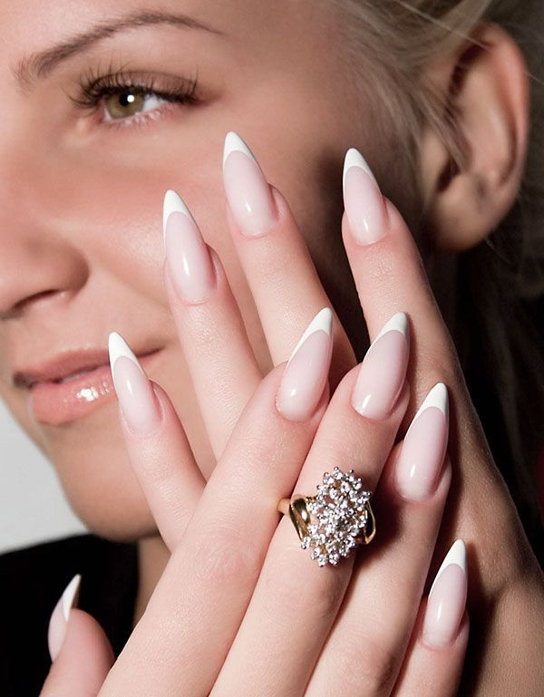 French Manicure With Pointed Tips With Images Pointy Nails
