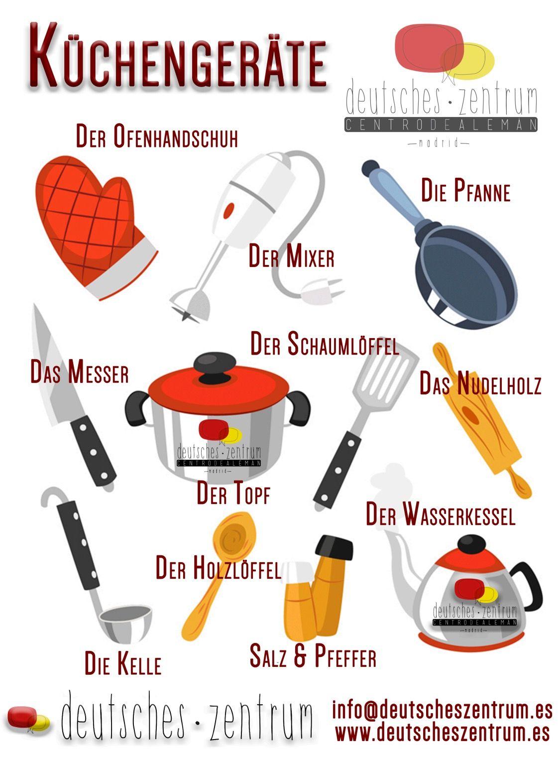 Küchengeräte. Deutsch Alemán Wortschatz Vocabulario DAF | Deutsch ...