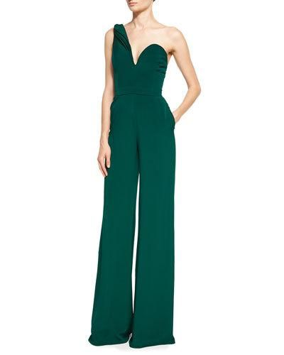 One-Shoulder Crepe Jumpsuit With Petal Details, Forest | Brandon ...