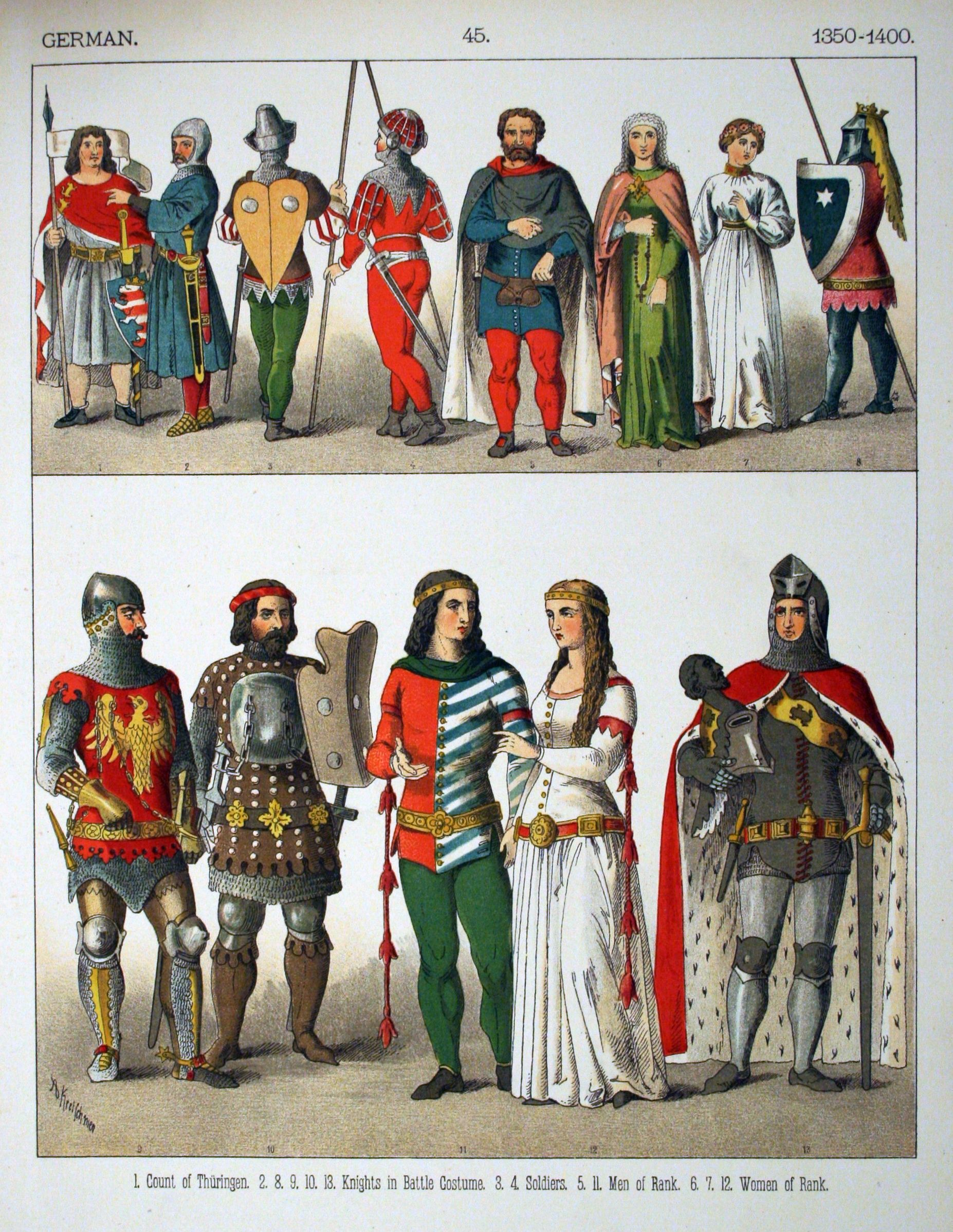 "Middle Ages: 1350-1400, German. ""Costumes of All Nations"" (1882) by Albert  Kretschmer & Carl Rohrbach 