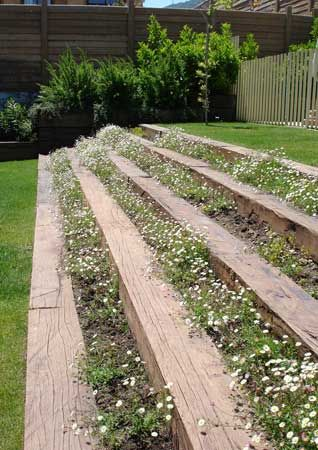 Mm paisajismo jardin con desnivel pinterest for Ideas jardin desnivel