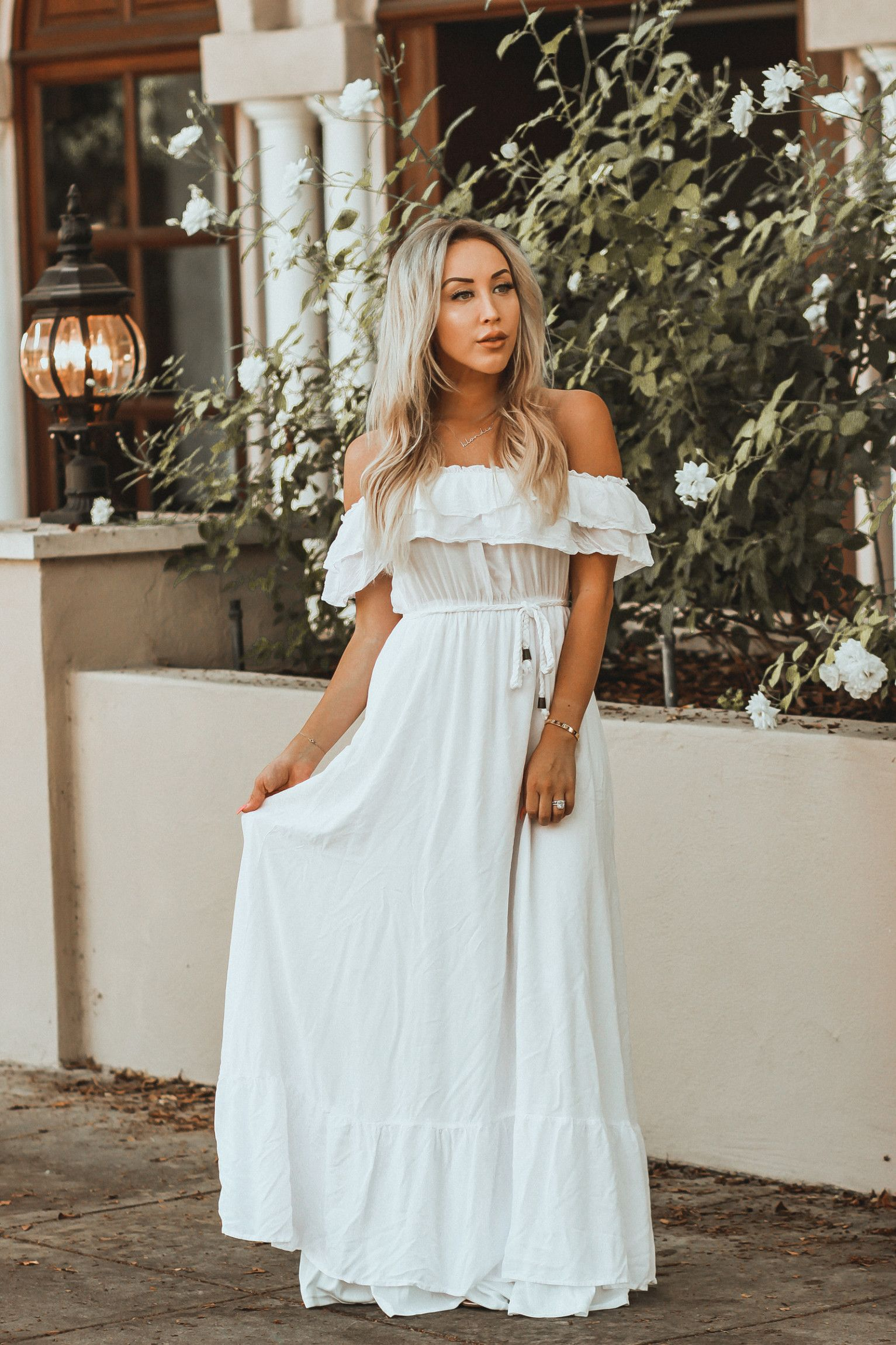 Bride To Be Vibes All Over Again Blondie In The City Bridal Shower Dress White Bohemian Dress Shower Dress For Bride [ 2300 x 1533 Pixel ]