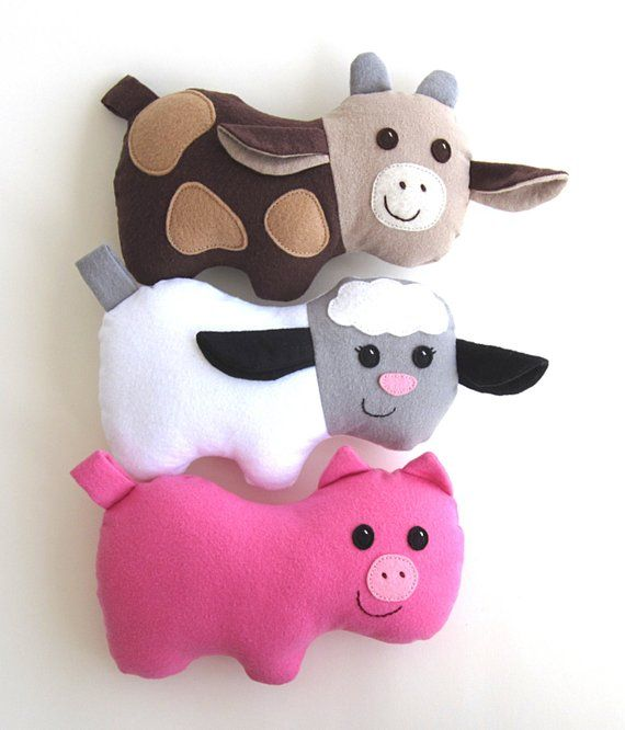Cow Pig Lamb Pdf Sewing Pattern Plush Farm Animal Barnyard Toys