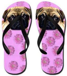 Pug flip flops with pink flowers