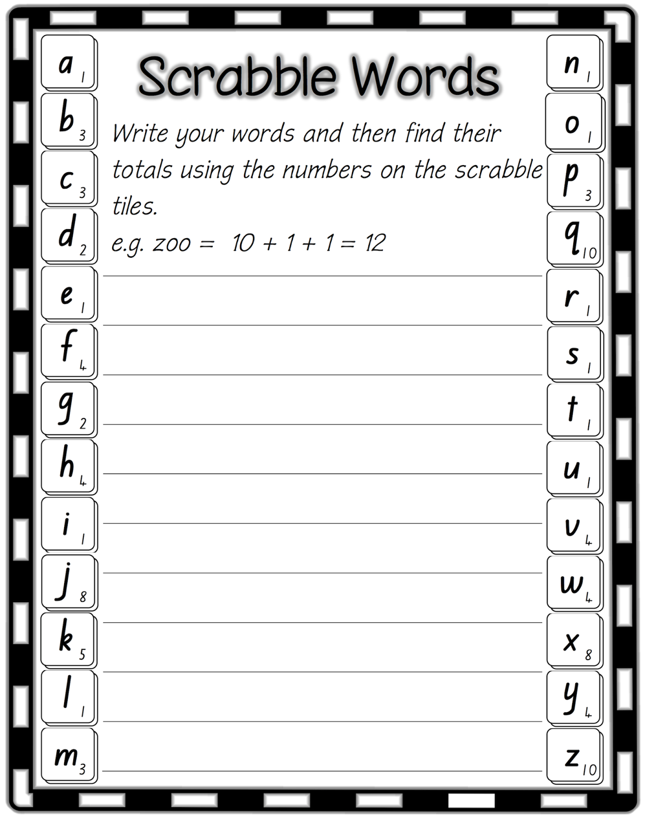 Classroom Treasures Word Work Scrabble Tiles