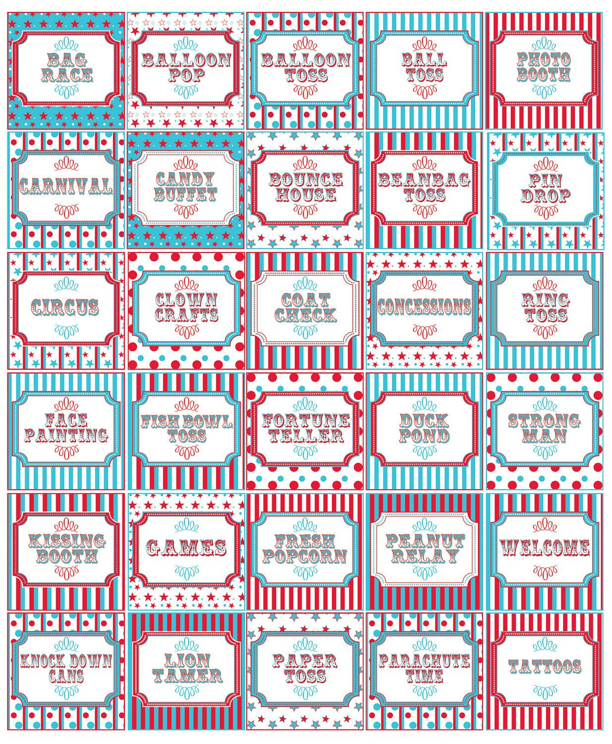 Traditional Teal & Red Carnival Party Signs | Circus party ...