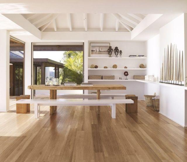Carrelage imitation parquet clair salle manger bancs table bois design épuré carrelage imitation parquet