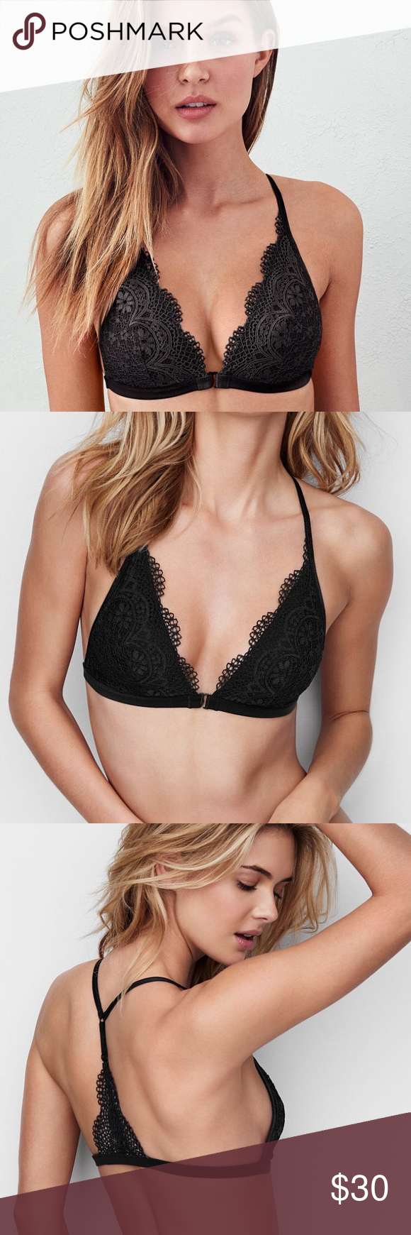 66ddb18cb8 Victoria s Secret Front-close Bralette - Black A boho beauty underneath it  all  with