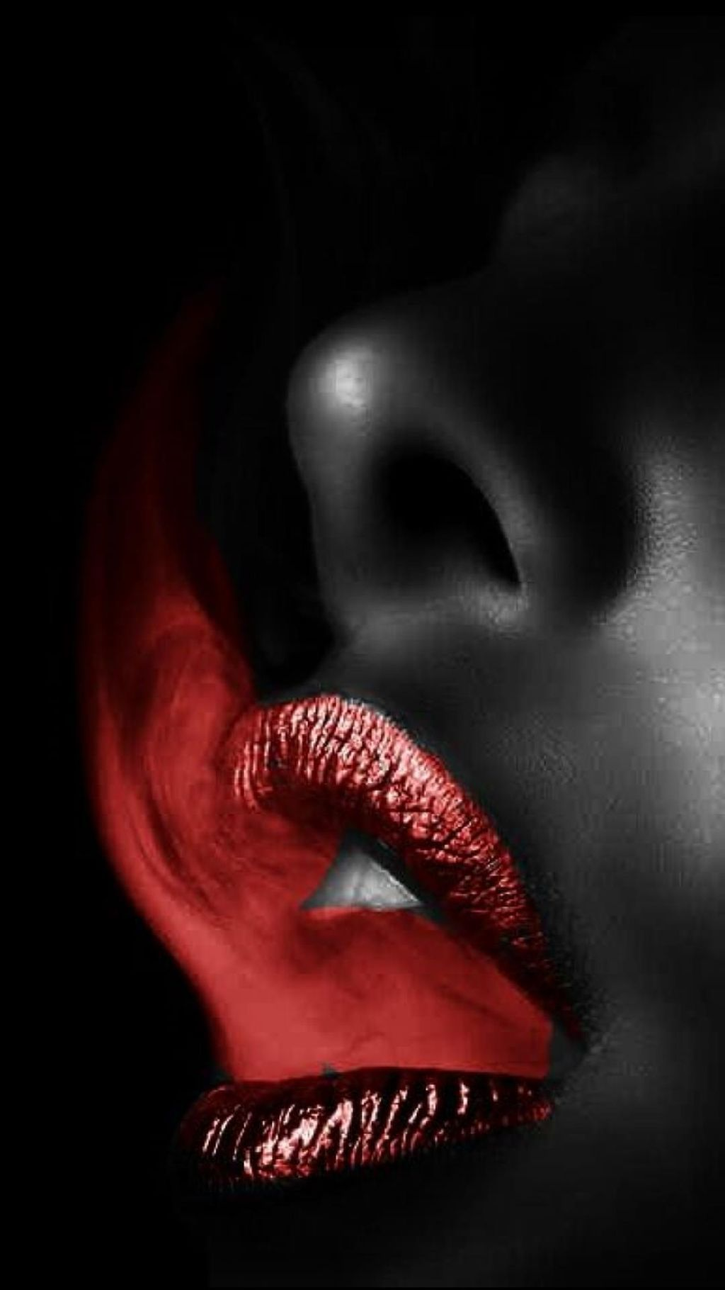 Black And White And Color Red Lips Lip Art Black And Red