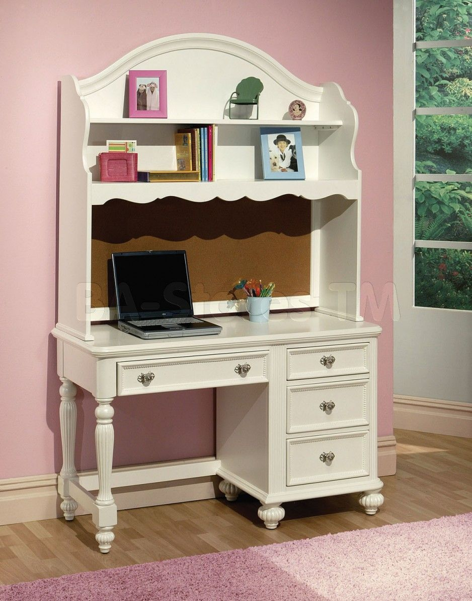 Fun Pink Teenage Room with Classic White Study Desk Space and Wooden ...