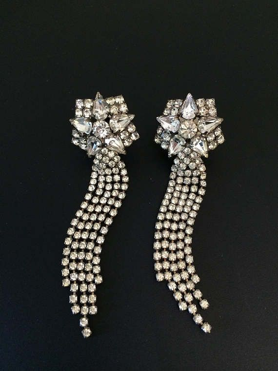Vintage Rhinestone Waterfall Clip Earrings