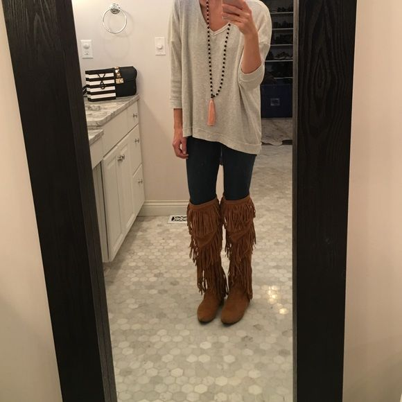 4cad924d8e1a Sam Edelman Uri Over The Knee Fringe Boot 8.5 Fab fringe boot in tan ...