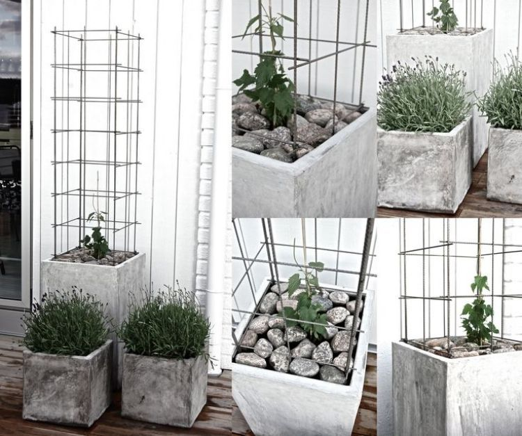 d co de jardin diy en b ton 33 belles id es jardini re en b ton grande jardiniere et la. Black Bedroom Furniture Sets. Home Design Ideas