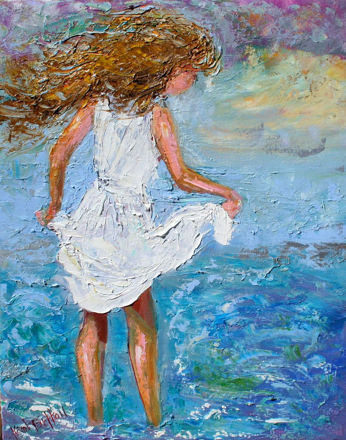 Original oil painting child ocean play impressionism for Oil painting for kids