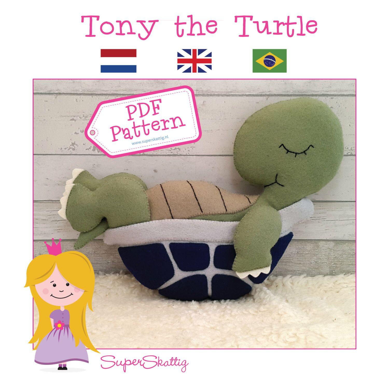 Felt Pattern Tony the Turtle, softie pattern animal, plush pattern ...