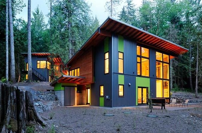Modern Shed Roof House Designs Modern Mountain House Sustainable Construction Stylish Design Gppqkdnu Jpg 674 446 House In The Woods Forest House House Roof