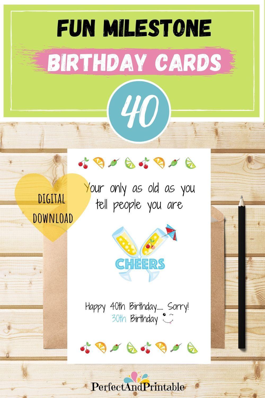 Fun Champagne Cheers 40th Birthday Card Colourful Milestone Age Birthday Card Humorous Fo Birthday Cards For Friends 40th Birthday Cards Funny Birthday Cards