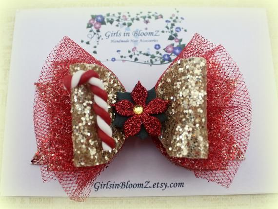 Christmas hair bow/Girls red hair bow/Glitter hair bow/Red hair bow/Gold hair bow/Christmas bow head #hairbows