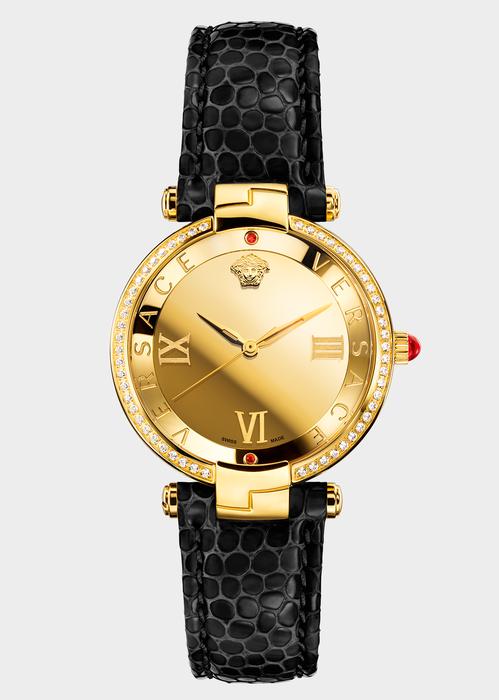 7336a7ca4f Versace RÊVIVE GOLD DIAL BLACK WATCH for Women | Online Store EU ...