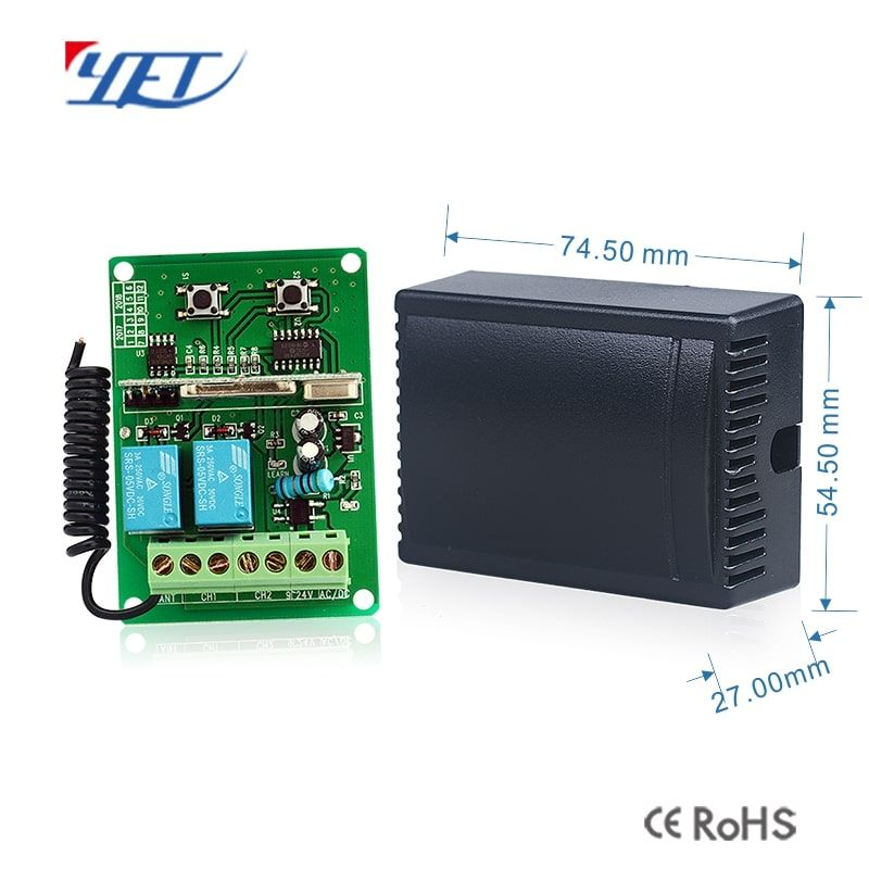Two Channel Wireless Intelligent Receiving Controller Yet402pc Dm Ac Dc9 24v Voltage Can Be Used With 40 Remote Cont Wireless Remote Controls Gaming Products
