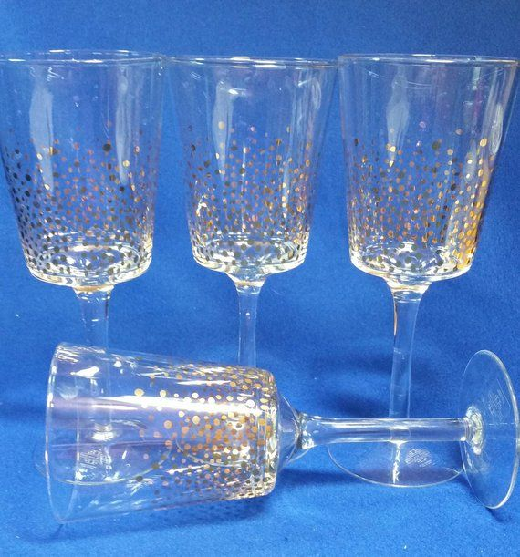 Fitz And Floyd Gold Luster Wine Glasses White Wine Glass Set