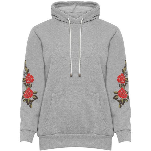 4b5dd788257af WearAll Plus Size Floral Print Sleeve Baggy Hoodie ( 30) ❤ liked on  Polyvore featuring tops