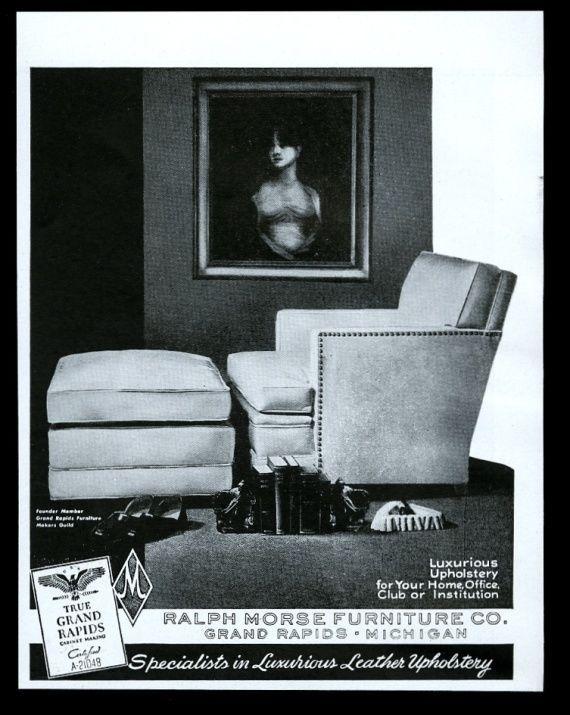 1948 Ralph Morse Furniture club chair ottoman photo vintage print ad ...
