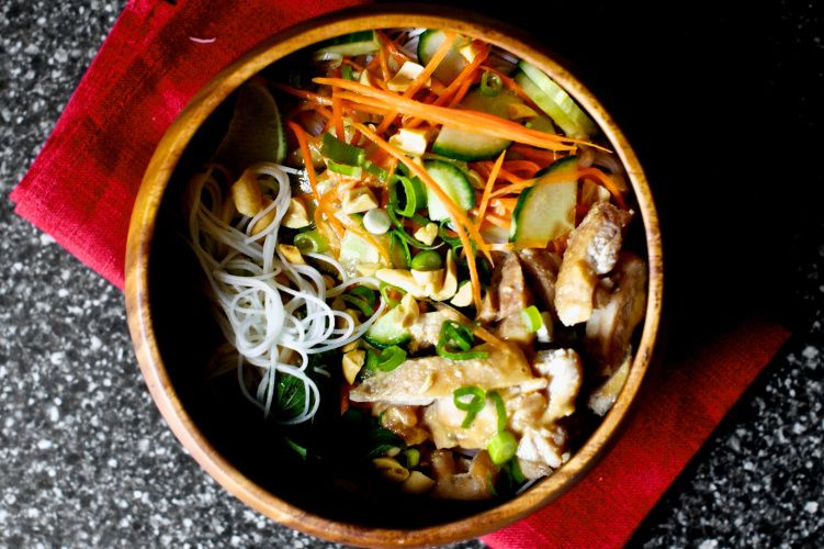 Cold Rice Noodles With Peanut Lime Chicken Yum Let S Get Busy